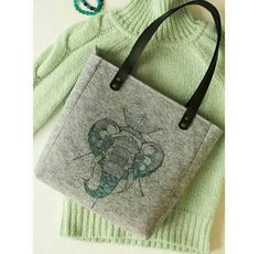 Handmade Grey Felt Bags, Elephant Illustration, Tote Bags, Shopper Bags, Felt Shopper, Felt Shoulder Bags, Carry All Bags, Zipper Bag, Gift