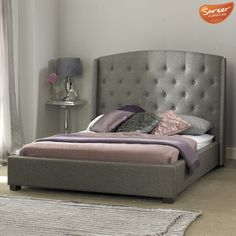 SIGNATURE GREY FABRIC BEDFRAME TALL BUTTON WINGED HEADBOARD - 4FT6,5FT