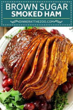 Smoked Ham with Brown Sugar Glaze Brown Sugar Smoked Ham Recipe Smoked Ham Glaze, Smoked Ham Recipe, Smoked Meat Recipes, Ham Recipes, Grilled Recipes, Dutch Recipes, Smoked Pork, Milk Recipes, Easter Recipes