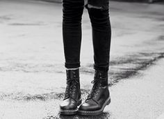 ripped jeans + Dr Martens
