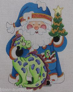 Strictly Christmas Brontosaurus Santa Claus Hand Painted Needlepoint Canvas