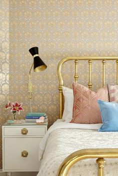 metallic-printed wallpaper in a master bedroom makeover