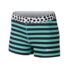 Nike Women's Pro Stripes and Dots 3 Inch Shorts, Black Blue ($30) ❤ liked on Polyvore featuring activewear, activewear shorts, nike sportswear, nike activewear and nike
