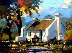 Artwork of Dale Elliot exhibited at Robertson Art Gallery. Original art of more than 60 top South African Artists - Since Forest Village, Fishermans Cottage, Pintura Exterior, Acrylic Painting Flowers, South African Artists, Landscape Artwork, Original Art, Art Gallery, Cottages