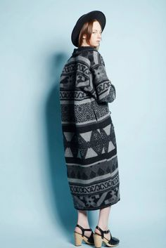 Vintage Gray Tribal Southwest India Navajo Wool Geometric Blanket Long Coat #Vintage #BasicCoat