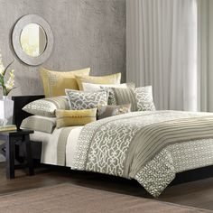 Grey and Yellow - subdued. Love it. Master Bedroom?