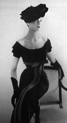 vintage fashion, Balmain gown & hat, in Vogue, 1951 Paris.