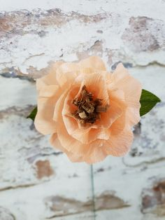 Peach paper flower with gold center