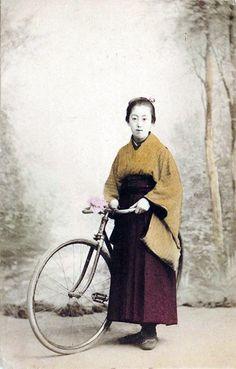 taishou-kun:  Japanese female student with bicycle - Hand coloured albumen print - 1900s