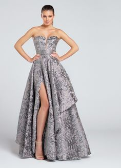 Rock this platinum gown that has outstanding details along with a sweetheart top, and it's at Rsvp Prom and Pageant Dresses!
