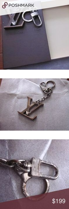Authentic LOUIS VUITTON Initials keychain This is authentic but very used. You can see the silver is tarnishing. Some scratches and wear. Length is 2 inches. Height is 5 inches. Comes with box. Louis Vuitton Accessories Key & Card Holders