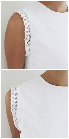 DIY Lace Trimmed Tee Shirt Tutorial from A Pair & A. DIY Lace Trimmed Tee Shirt Tutorial from A Pair & A Spare. This tank top restyle, trimmed with lace, is a so cheap and easy to make. No sewing machine is needed - just lace trim. For a huge archive of Sewing Hacks, Sewing Tutorials, Sewing Patterns, Sewing Diy, Tutorial Sewing, Shirt Refashion, T Shirt Diy, Clothes Refashion, Sew Tshirt