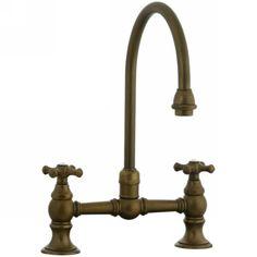 Cifial 267.270.V05 Highlands Two Handle Bridge Kitchen Faucet Aged Brass-eFaucets.com
