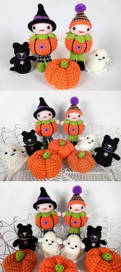 Pumpkin patch people amigurumi pattern by Janine Holmes at Moji-Moji Design