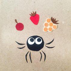 Juggling with berries, paper collage illustration @harakrankkila