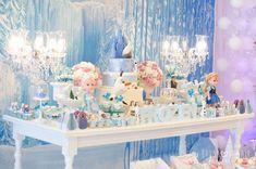 Frozen themed birthday party via Kara's Party Ideas Disney Frozen Party, Frozen Themed Birthday Party, Princess Theme Party, 4th Birthday Parties, Birthday Ideas, Frozen Movie, Birthday Table, Fourth Birthday, Frozen Decorations