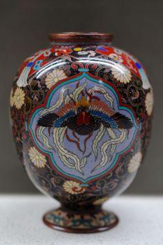 Takeuchi Chubei Meiji Japanese Silver Wire Cloisonne Dragon/Phoenix Panel Vase