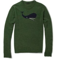 Whale Intarsia Camel and Wool-Blend Sweater