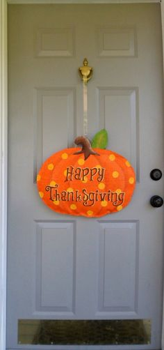 Happy Thanksgiving Pumpkin Burlap Door and Wall by AllUniqueThings