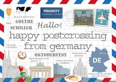 """May we present the edition of a """"Happy Postcrossing from Germany"""" HPC postcard! It features well-known buildings and beloved symbols of Germany. White Cow, Black And White, Brandenburg Gate, Germany, Happy, Postcards, Buildings, Symbols, Oktoberfest"""