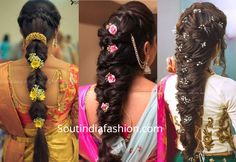 Top 10 South Indian Bridal Hairstyles For Weddings, Engagement etc. - - The best south indian bridal hairstyles handpicked for you to sail through your wedding day. wedding hairstyles for all face shapes. South Indian Wedding Hairstyles, Bridal Hairstyle Indian Wedding, South Indian Bride Hairstyle, Bridal Hair Buns, Bridal Hairdo, Indian Bridal Makeup, Wedding Hair Down, Wedding Hairstyles For Long Hair, Bride Hairstyles