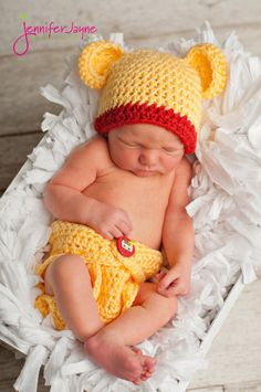 Inspired Winnie The Pooh Hat with Matching Diaper Cover Newborn thru 6  months available Excellent photo 98c12afc610