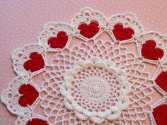 Red Hearts Valentine's Day Crocheted Doily by SewKimberlySue, $20.00