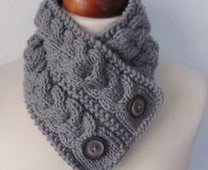 Gris mano punto capucha bufanda con botones-Neckwarmer