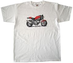 T-shirt moto Ducati Monster 620 ie 2002 white color http://www.tshirtvintage.com