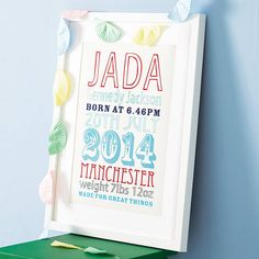 personalised birth date print by modo creative | notonthehighstreet.com