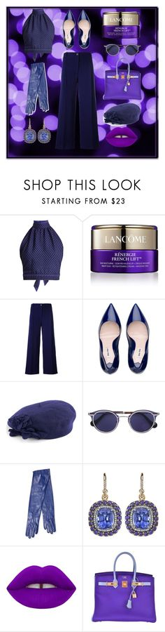 """""""Scorpio's Disco Night out"""" by wngkrsus ❤ liked on Polyvore featuring CECILIE Copenhagen, Lancôme, Erika Cavallini Semi-Couture, Betmar, Maison Fabre, Irene Neuwirth and Hermès"""
