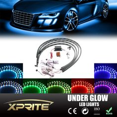 Xprite 7 Color New Version 5050 SMD High Intensity LED Car Underglow Underbody System Neon Strip Lights Kit x 2 & x 2 w/Sound Active Function and Wireless Remote Control Car Accessories Gifts, Jeep Wrangler Accessories, Road Trip Snacks, Car Led Lights, Muscle, Car Mods, Cute Cars, Led Strip, Car Audio