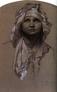 Artist: Alphonse Mucha Style: Art Nouveau (Modern) Genre: sketch and study Tags: female-portraits