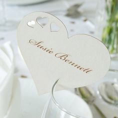 Heart design one wedding wine glass name place cards £0.50