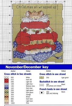 Margaret Sherry - Christmas All Wrapped Up Cat Cross Stitches, Counted Cross Stitch Patterns, Cross Stitch Charts, Cross Stitch Designs, Cross Stitching, Cross Stitch Christmas Ornaments, Xmas Cross Stitch, Christmas Cross, Blackwork Embroidery