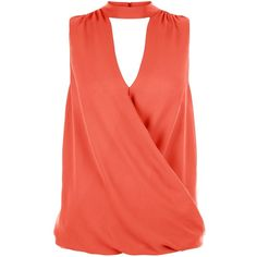 New Look Coral Funnel Neck Wrap Front Blouse (405 ZAR) ❤ liked on Polyvore featuring tops and blouses
