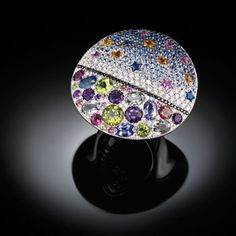 "Impavide Stelle ring featuring a design ""painted"" in diamonds, sapphires and semiprecious from the Art Collection by Palmiero, Italy."