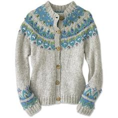I love this cardigan!!!  I'd have one in every colour.  Icelandic Fair Isle Hand Knit Sweater. Goes well with the outfit on the next-door pin (arrow grey top, jeans, boots etc) >>