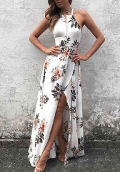White Floral Print Tie Back Backless Halter Neck Maxi Dress
