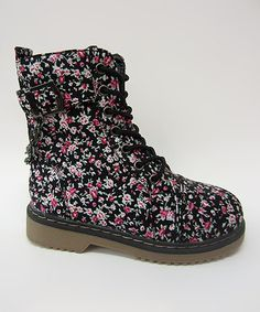 Look at this #zulilyfind! Black & Pink Floral Alyson Boot by Link #zulilyfinds