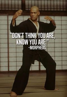 "Morpheus: ""Don't think you are, know you are."" The Matrix"