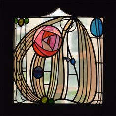 #CharlesRennieMackintosh rose glass panel  House for an Art Lover