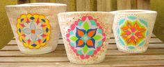 Vasos pintados à mão – mandalas e mosaico » Além da Rua Atelier