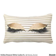 Golden Diamont Glitter Lashes Glam Make Up Stripes Lumbar Pillow