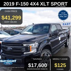 """Stock# 04.12 - 9F1342  $0 DOWN, 4WD SUPERCREW, 20"""" ALUM WHEELS, XLT SPORTS PACKAGE,  TRAILER TOW PACKAGE, XLT  6.5' BOX, AND MORE.   Lease this by paying $125/week   This vehicles comes with 3.5L V6 engine, 10 speed auto transmission.  Some of the feature are  > Power sliding rear window  >Rear defroster  >Remote start system Ford Employee, 5 Box, Car Deals, 2019 Ford, Car Ford, Rear Window, Ontario, Remote, Finance"""