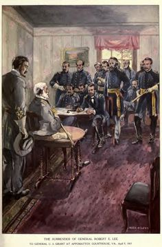 The Surrender of General Robert E. Lee to General Grant U.S. at Appomattox Courthouse, Va. April 9 1865