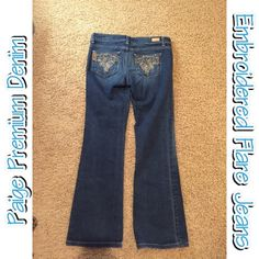 Paige Embroidered Pocket Jeans Flared Jeans with adorable embroidered pockets with floral pattern. Inseam is 30 inches. Make me an offer and bundle for greater deals! Paige Jeans Jeans
