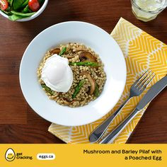Mushroom and Barley Pilaf With a Poached Egg   Eggs.ca   #GetCracking #Eggs #Poached Barley is versatile whole-grain with several health benefits and it can be enjoyed as a breakfast cereal, in soups, stews, casseroles and even desserts.