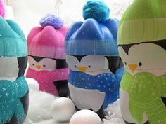 Pingüinos hecho con botellas de plástico