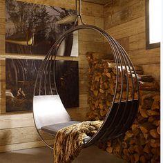 Designer Erin Martin lends an industrial edge to the trend with her iron swinging chair. - Home Decoz Oscilación Interior, Interior And Exterior, Interior Plants, Interior Designing, Kitchen Interior, Kitchen Decor, Interior Decorating, Swing Indoor, Canto Bar
